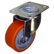 100mm Swivel Castor (Pressed Steel), Polyurethane Tyre, Ball Bearing, 300kg
