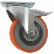 100mm Swivel Castor with Brake (Pressed Steel), Polyurethane Tyre, Ball Bearing, 300kg