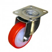 200mm Swivel Castor (Plate), Polyurethane Tyre wheel, Ball Bearing, 500kg