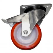 160mm Swivel Castor with Brake (Plate), Polyurethane Tyre wheel, Ball Bearing, 480kg