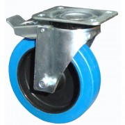 100mm Swivel Castor with Brake (Heavy Plate), Rubber Tyre wheel, Roller Bearing, 160kg
