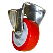 100mm Fixed Castor (BC), Polyurethane Tyre wheel, Roller Bearing, 150kg