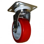 125mm Swivel Castor (Plate), Polyurethane Tyre wheel, Ball Bearing, 150kg