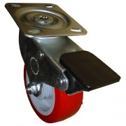 125mm Swivel Castor with Brake (Plate), Polyurethane Tyre wheel, Ball Bearing, 150kg