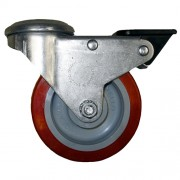100mm Swivel Castor with Brake (10mm BH), Polyurethane Tyre wheel, Roller Bearing, 150kg