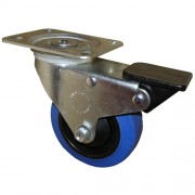 100mm Swivel Castor with Brake (Plate), Rubber Tyre wheel, Ball Bearing, 150kg