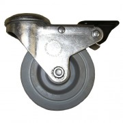 100mm Swivel Castor with Brake (BH), Rubber Tyre wheel, Plain Bore, 85kg