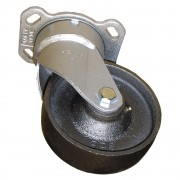 125mm Swivel Castor (Plate), Cast Iron wheel, Roller Bearing, 630kg