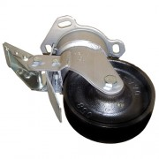 125mm Swivel Castor with Brake (Plate), Cast Iron wheel, Roller Bearing, 630kg