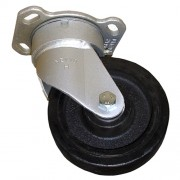 100mm Swivel Castor (Plate), Rubber Tyre wheel, Roller Bearing, 150kg
