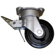 200mm Swivel Castor with Brake (Plate), Rubber Tyre wheel, Ball Bearing, 535kg