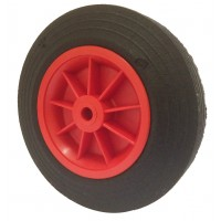 200mm Black Solid Rubber Tyre / Red Polypropylene Centre Wheel, 12mm Plain Bore, 200kg