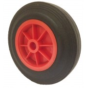 200mm Black Solid Rubber Tyre / Red Polypropylene Centre Wheel, 25.4mm Plain Bore, 200kg