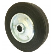 200mm Black Solid Rubber Tyre / Silver Metal Centre Wheel, 25mm Roller Bearing, 250kg