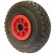 260mm Pneumatic Tyre / Red Polypropylene Centre Wheel, 25mm Roller Bearing, 120kg