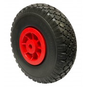 260mm Puncture Proof Tyre / Red Polypropylene Centre Wheel, 16mm Plain Bore, 120kg