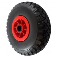 260mm Puncture Proof Tyre / Red Polypropylene Centre Wheel, 20mm Roller Bearing, 120kg