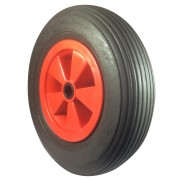 380mm Puncture Proof Tyre / Red Polypropylene Centre Wheel, 25mm Roller Bearing, 200kg