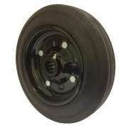300mm Black Solid Rubber Tyre / Metal Centre Wheel, 25mm Roller Bearing, 400kg