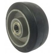 100mm Black Elastic Rubber Tyre / Aluminium Centre Wheel, 15mm Ball bearing, 160kg