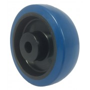 150mm Blue Rubber Tyre / Nylon Centre Wheel, 20mm Plain Bore, 300kg