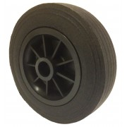 160mm Solid Black Rubber Tyre / Black Polypropylene Centre Wheel, 20mm Plain Bore, 150kg