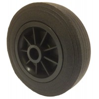 160mm Black Rubber Tyre / Black Polypropylene Centre Wheel, 20mm Plain Bore, 150kg