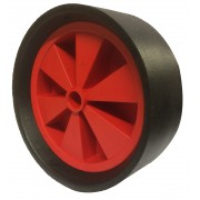 260mm Black Solid Rubber Tyre / Red Polypropylene Centre Wheel, 25mm Plain Bore, 125kg