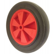 300mm Black Solid Rubber Tyre / Red Polypropylene Centre Wheel, 19mm Plain Bore, 150kg