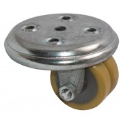 50mm Low Level Twin Wheel Castor, Polyurethane Tyred Wheel, 160kg load capacity