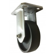 125mm Fixed Castor (Plate), Cast Iron wheel, Roller Bearing, 630kg
