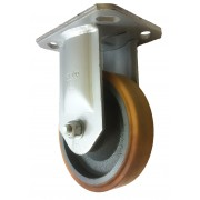 250mm Fixed Castor (Plate), Polyurethane Tyre wheel, Roller Bearing, 1200kg