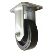 150mm Fixed Castor (Plate), Rubber Tyre wheel, Roller Bearing, 370kg