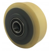 100mm Polyurethane Tyre / Cast Iron Wheel, 25mm Ball Bearing, 500kg