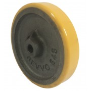 100mm Polyurethane Tyre / Cast Iron Centre Wheel, 10mm Plain Bore, 150kg