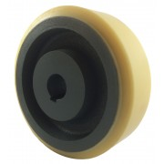 150mm Polyurethane Tyre / Cast Iron Wheel, 25mm Plain Bore Keywayed, 900kg