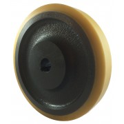 250mm Polyurethane Tyre / Cast Iron Wheel, 30mm Plain Bore Keywayed, 1200kg