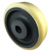 300mm Polyurethane Tyre / Cast Iron Wheel, 50mm Plain Bore Keywayed, 2800kg