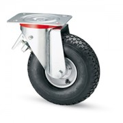 260mm Braked Castor with Pneumatic Wheel, 150mm Load Capacity