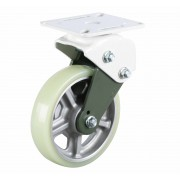 200mm Fixed Castor (Plate), Polyurethane Tyre wheel, Ball bearing, 400kg