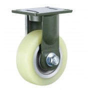 200mm Fixed Castor (Plate), Polyurethane Tyre wheel, Ball bearing, 2000kg
