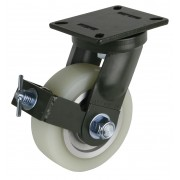 200mm Swivel Castor with Brake (Plate), Polyurethane Tyre wheel, Ball bearing, 2000kg