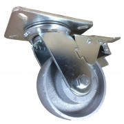 125mm Swivel Castor with Brake (Plate), Cast Iron wheel, Ball Bearing, 350kg
