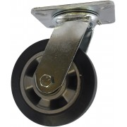 100mm Swivel Castor (Plate), Rubber Tyre wheel, Ball Bearing, 200kg