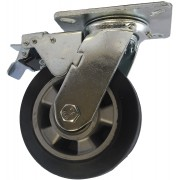125mm Swivel Castor with Brake (Plate), Rubber Tyre wheel, Ball Bearing, 250kg