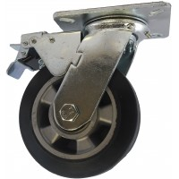 100mm Swivel Castor with Brake (Plate), Rubber Tyre wheel, Ball Bearing, 200kg