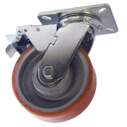 125mm Swivel Castor with Brake (Plate), Polyurethane Tyre wheel, Ball Bearing, 400kg