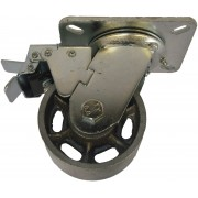 100mm Swivel Castor with Brake (Plate), Cast Iron wheel, Ball Bearing, 300kg