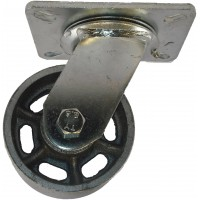 100mm Swivel Castor (Plate), Cast Iron wheel, Ball Bearing, 300kg