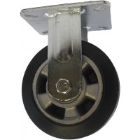 100mm Fixed Castor (Plate), Rubber Tyre wheel, Ball Bearing, 200kg